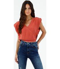 camisa oversized crop de mujer con hombreras, color naranja