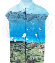 off duty mr. triangle landscape print t-shirt - blue