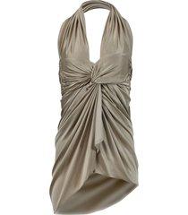 draped halter mini dress, sand