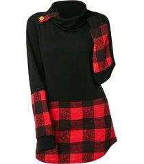 plus size long sleeve plaid cowl neck t-shirt
