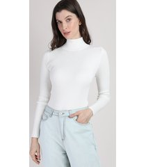 blusa de tricô feminina canelada manga longa gola alta off white