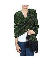 zapotec cotton rebozo shawl, 'avocado leaves' (mexico)