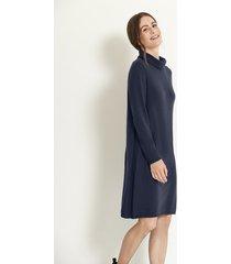 gebreide jurk uit bio-merino/katoenmix met wijde col, nachtblauw 44