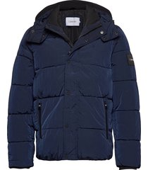 crinkle nylon mid length jacket fodrad jacka blå calvin klein