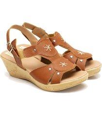 sandalia de cuero suela valentia calzados brenda uxia