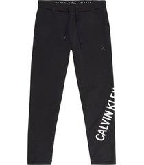 pantalón de chándal de felpa elástica con el logo negro calvin klein