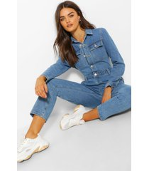 mid wash denim jumpsuit, blue