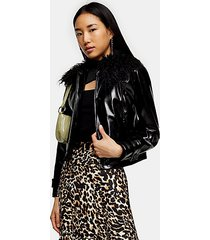 black faux fur collar pu coat - black