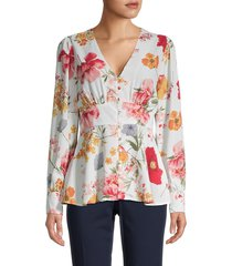 lumie women's flared floral top - off white multi - size s