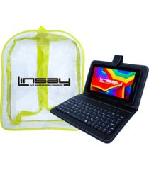 """7"""" quad core 2gb ram 32gb android 10 dual camera tablet with black leather keyboard and backpack"""