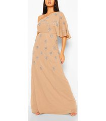 bridesmaid hand embellished one shoulder cape maxi, taupe