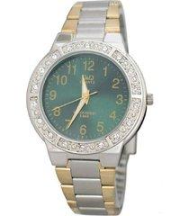 reloj q&q q901j415y análogo bicolor para mujer
