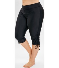 plus size side drawstring knee length swim pants