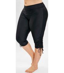 plus size side drawstring knee length swim pants
