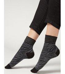 calzedonia animal print cotton ankle socks woman grey size tu