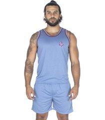 pijama bravaa modas regata 007 azul claro