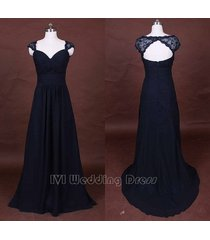 charming black evening dress long chiffon prom dress 2016 with lace shawl