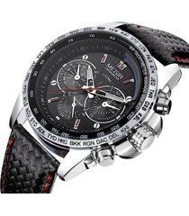reloj cuarzo hombre casual militar 3bar megir 1010 negro