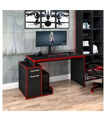 mesa computador gamer trevalla shark com 1 porta preto onix/vermelho