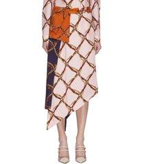 saddle print handkerchief belted midi skirt