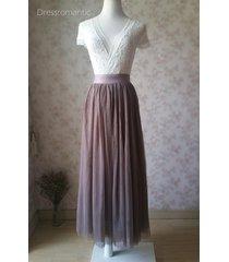 coffee high waisted plus size maxi skirt floor length bridesmaid tulle skirt nwt