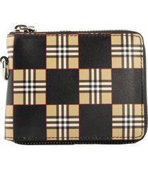 daniels chequer print leather ziparound wallet