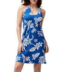 hibiscus print halter jersey dress
