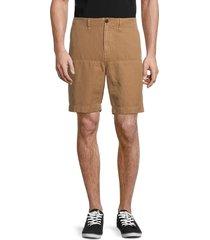 billy reid men's flat-front pima cotton & linen shorts - dark tan - size 34
