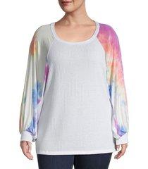 baea women's plus tie-dyed sweatshirt - white multi - size 1x (14-16)