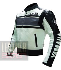yamaha 5241 grey leather motorcycle motorbike pure  cowhide safety  jacket