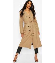 longline wool look coat, camel