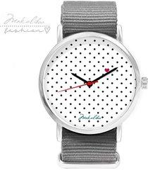 - 12 % love dots - szary - zegarek makaliboo