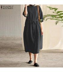 zanzea mujeres más llano básico kaftan volver cinturón de lazo vestido a media pierna de algodón -negro