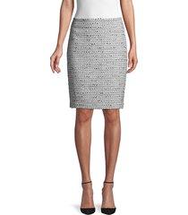 karl lagerfeld paris women's tweed pencil skirt - green haze - size 10