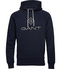 d1. gant lock up hoodie sweat-shirts & hoodies hoodies blauw gant