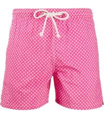 kiton short de natação com estampa geométrica - rosa