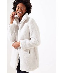 loft petite fleece funnel neck coat