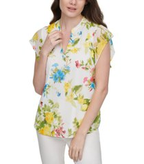 calvin klein floral-print flutter-sleeve top