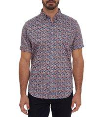 men's robert graham buddy classic fit short sleeve button-up sport shirt, size x-large - blue