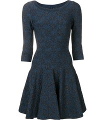 alaïa pre-owned glitter detail flared dress - blue