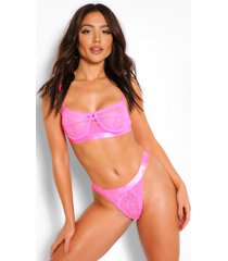 spot mesh and lace bralette and thong set, hot pink