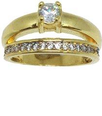 anel conjunto solitário e aparador semijoia banho de ouro 18k cravação de zircônia detalhe em ródio