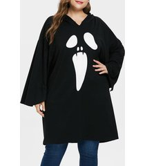 plus size halloween drop shoulder hoodie