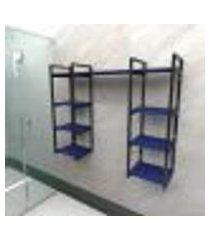 prateleira industrial banheiro aço cor preto 120x30x98cm (c)x(l)x(a) cor mdf azul modelo ind52azb