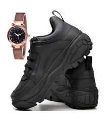 tênis sapatênis plataforma fashion com relógio gold feminino dubuy 731el preto