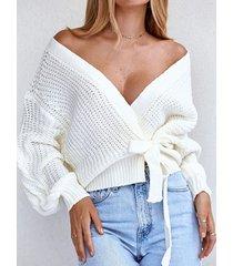 suéter de manga larga con cuello en v profundo y diseño de amarre blanco