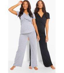 zwangerschaps wikkel borstvoedings pyjama set met broek, zwart