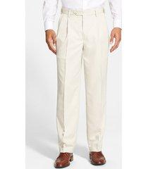 men's berle self sizer waist pleated classic fit dress pants, size 40 x unhemmed - beige