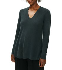 women's eileen fisher v-neck silk tunic top, size medium - blue