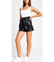 river island womens black faux leather paperbag belted short